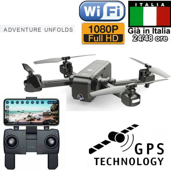 DRONE QUADRICOTTERO RADICOMANDATO GPS HEADLESS WIFI FPV CAMERA HD VIDEO