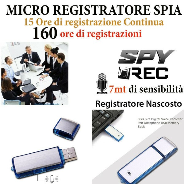 MICRO REGISTRATORE VOCALE SPY VOICE RECORDER AMBIENTALE PENNA USB